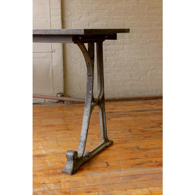 Cast Iron 20th Century Industrial Iron Console With Marble Top For Sale - Image 7 of 11