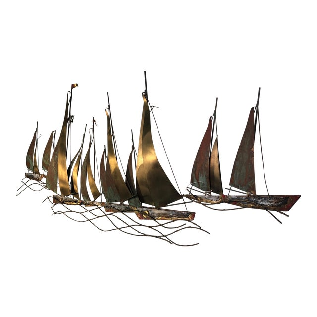 1970s Large Scale Boat Wall Sculpture by Curtis Jere For Sale