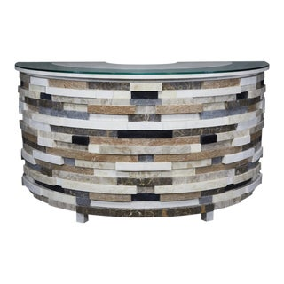 "1990s Contemporary Monumental Postmodern ""Postpile"" Tessellated Stone Semi-Circular Dry Bar For Sale"
