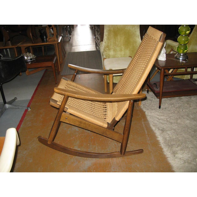 Hans Wegner Style Rope Rocking Chair - Image 3 of 8