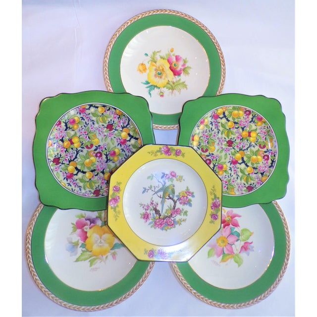 White (Final Markdown) 930's Crown Ducal Ware Chintz Plates - Set of 6 For Sale - Image 8 of 13