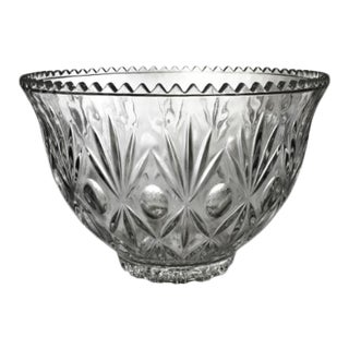 Vintage Mid-Century Clear Cut Glass Fruit Punch Bowl For Sale