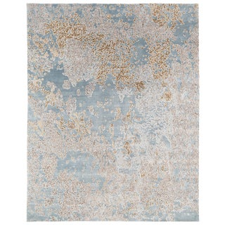 Contemporary Organic Silk and Wool Area Rug by Carini -8' X 10' For Sale