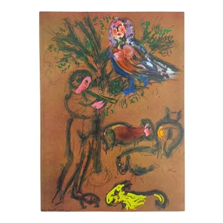 """Marc Chagall Rare Vintage 1958 First Edition Lithograph Print """" the Flute Player """" 1954 For Sale"""