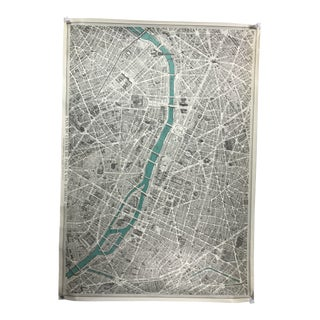 1950's Vintage Map of Paris Poster For Sale
