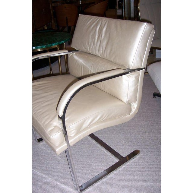 A Heavy Steel Brueton Chair in Leather - Image 5 of 5