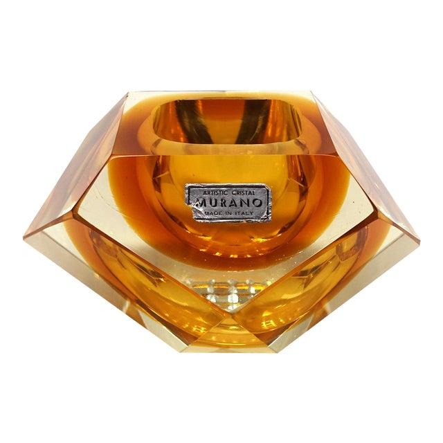 1960s Vintage Mandruzzato Murano Gold Glass Diamond Cut Block Trinket Dish For Sale