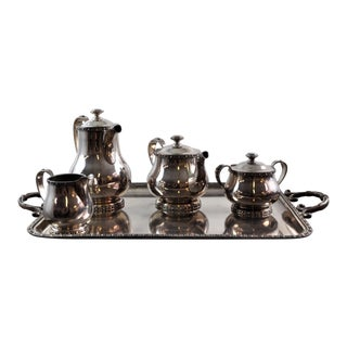 French Silverplated Coffee Tea Serving Set - 5 Pieces For Sale