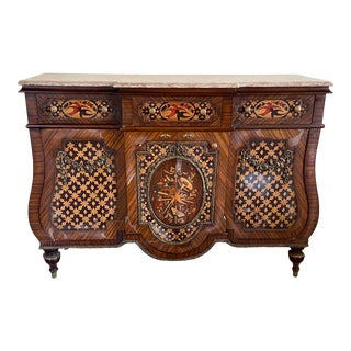 Vintage French Empire Style Marquetry Inlay Credenza For Sale