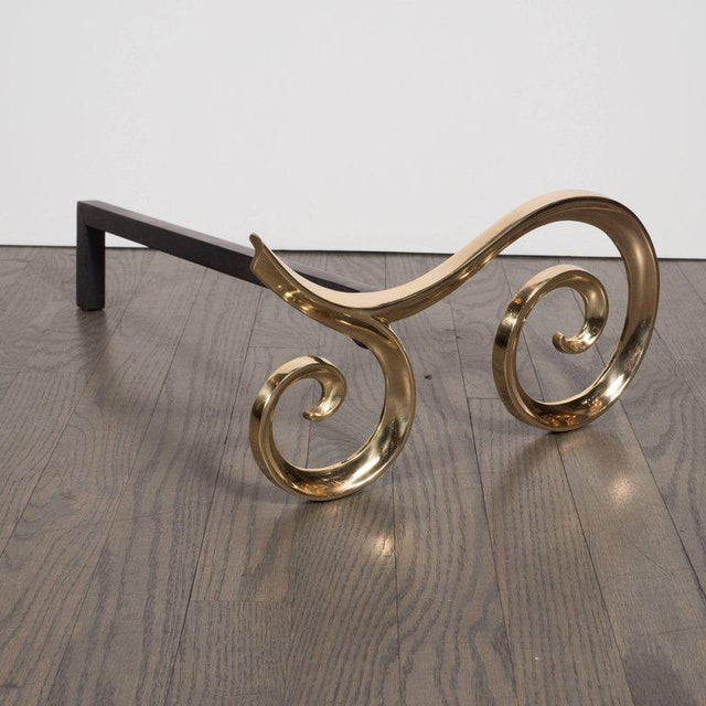 Art Deco Modern Brass and Black Iron Scroll Form Andirons For Sale - Image 3 of 9