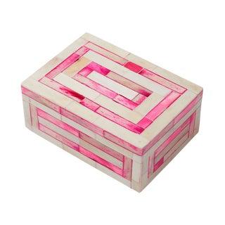 ELFIE Pink & White Striped Bone Inlay Box