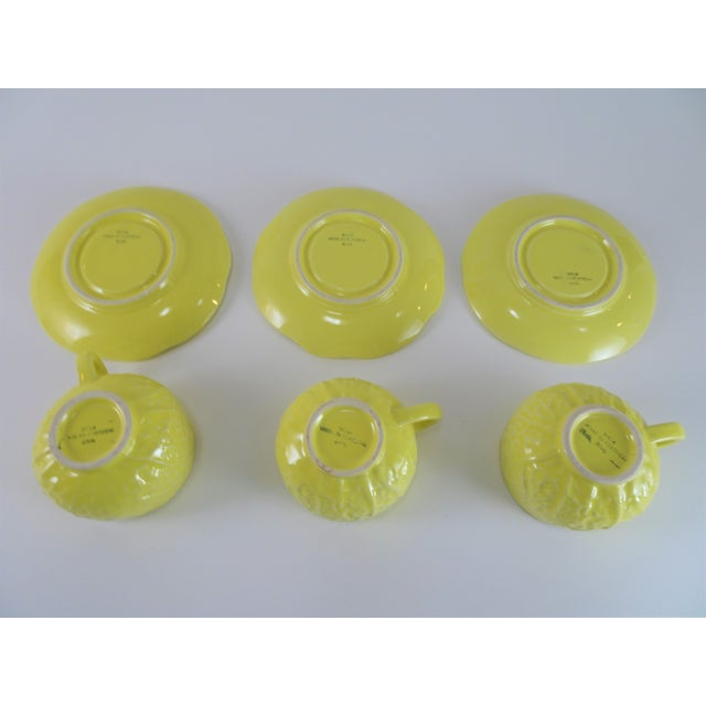 Mid 20th Century Vintage Yellow Cabbage Majolica Tea Cup and Saucer - Service for 3 For Sale - Image 5 of 10