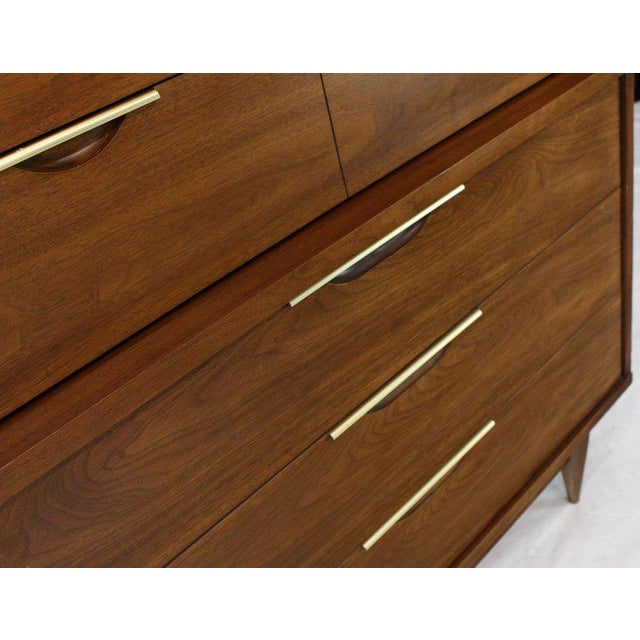 Five Drawers Walnut High Chest Dresser For Sale - Image 9 of 11