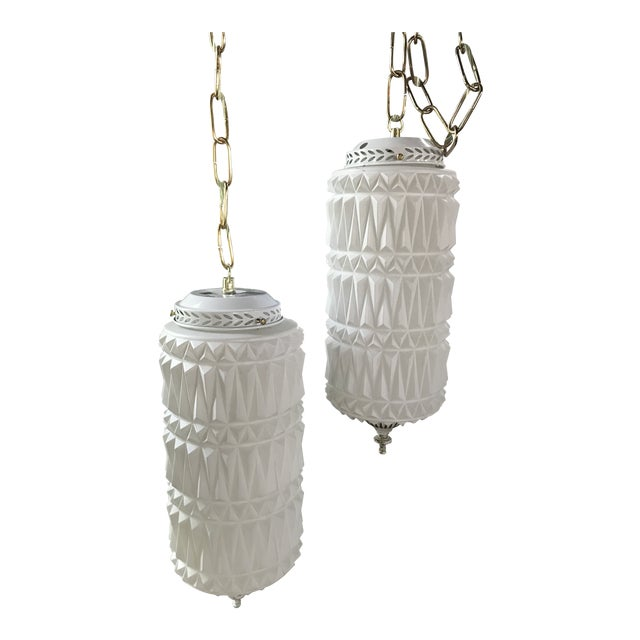 Mid-Century Modern Pendant Swag Lights - a Pair For Sale
