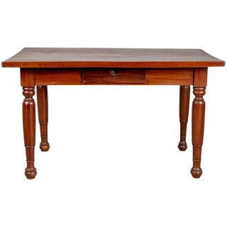 Antique Dutch Colonial Javanese Teak Desk with Single Drawer and Turned Legs For Sale