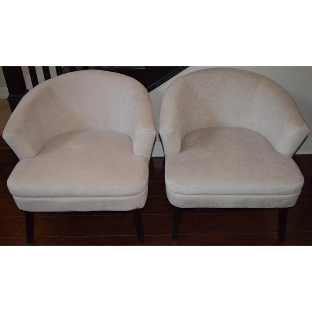 Creme Velveteen Club Chairs - A Pair - Image 2 of 6
