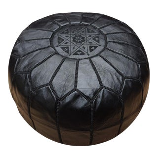 Modern Black Moroccan Handmade Leather Pouf For Sale