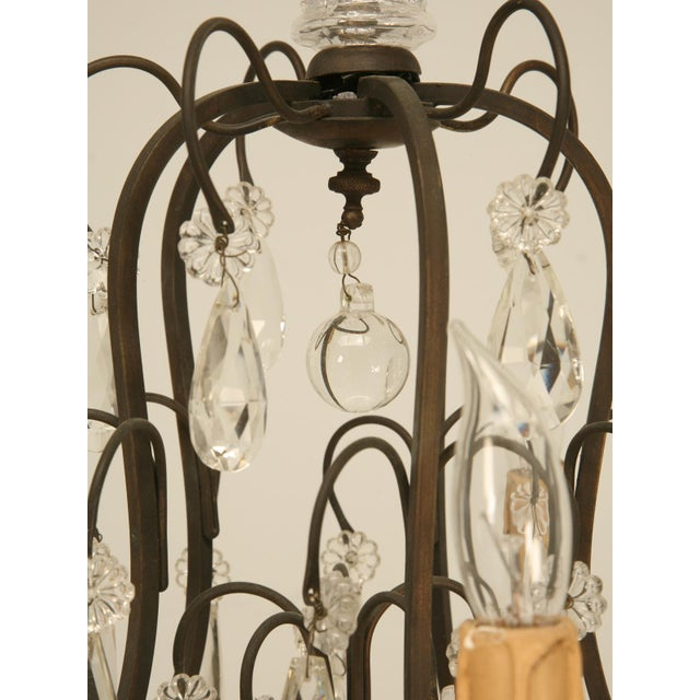 Glass French Vintage Five-Light Bronze Chandelier For Sale - Image 7 of 10