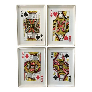 1960's Vintage Snack Trays in Playing Card Shapes - Set of 4 For Sale