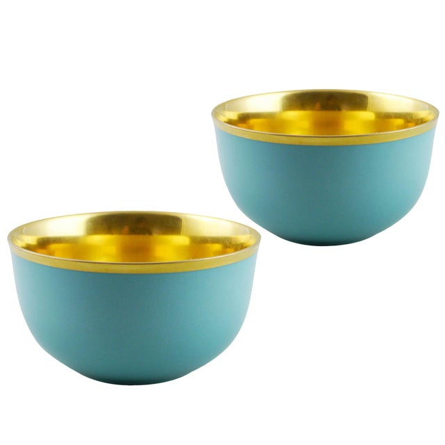 """Pair of """"Schubert"""" Champagne Bowls Turquoise & Gold by Augarten For Sale"""