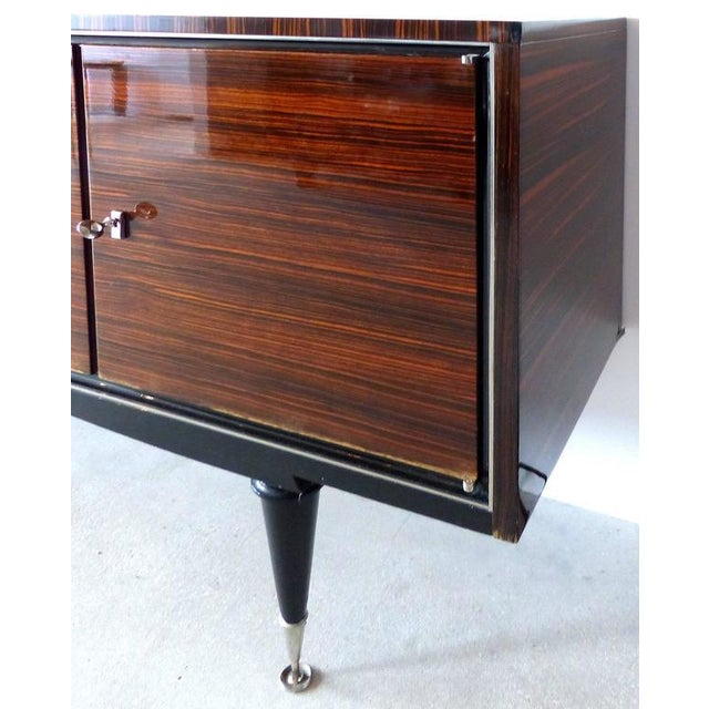 Lacquer 1930s French Art Deco Macassar and Ebony Credenza with Bar Compartment For Sale - Image 7 of 11