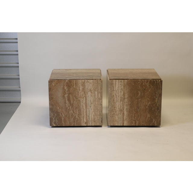 Beige 1970s Travertine Tables - a Pair For Sale - Image 8 of 8