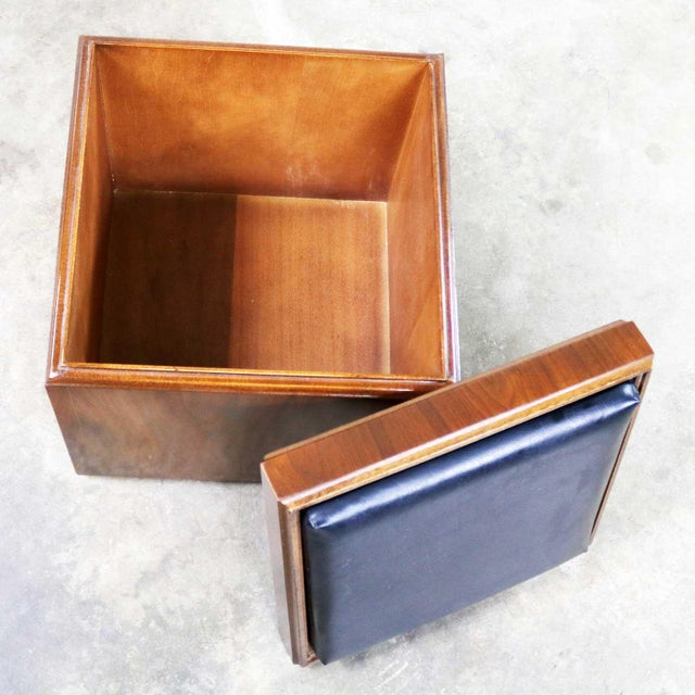 Black Mid Century Modern Lane Rolling Cube Storage Ottoman With Game Board Flip Table Top For Sale - Image 8 of 13