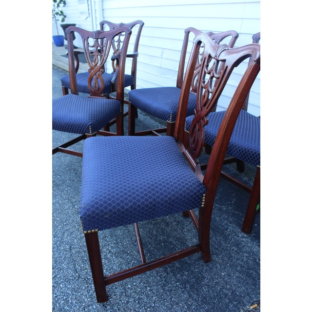 Textile Vintage Mid Century Blue Dining Chairs- Set of 6 For Sale - Image 7 of 11