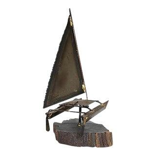 Catamaran Sculpture on Wood Base For Sale