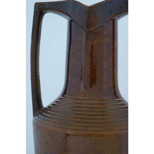 Brown Vintage Art Deco 1920s Egyptian Revival Handled Jug Urn Vase Glazed Ceramic For Sale - Image 8 of 9