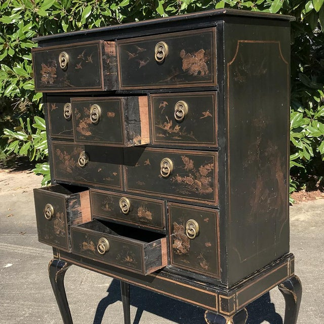 19th Century Ebonized & Hand-Painted Chinoiserie Raised Cabinet For Sale In Dallas - Image 6 of 12