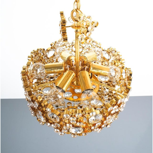 Palwa Palwa Crystal Glass Gold-Plated Brass Chandelier Refurbished Lamp For Sale - Image 4 of 12