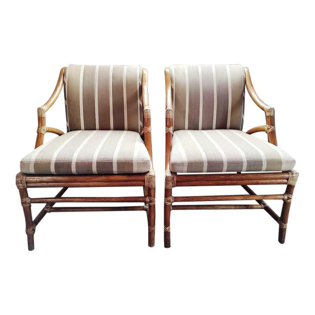 Vintage McGuire Rattan Accent Chairs - A Pair For Sale