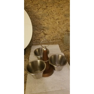 Teak Brass and Metal Swiveling Mid-Century Condiment Server Preview