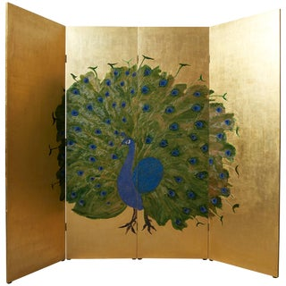 Japanese Folding Screen in Wood Decorated With a Peacock in Gold and Blue,1980s For Sale