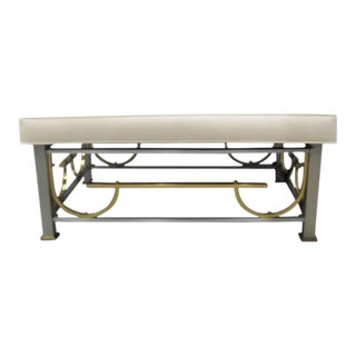 Mixed Metal Hollywood Regency Ottoman For Sale