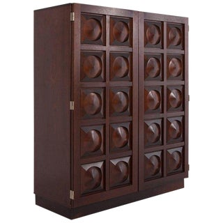 Brutalist Bar Cabinet in Dark Mahogany For Sale