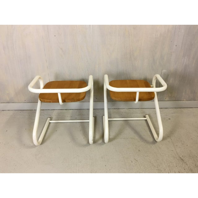 Danish Modern Pair of Mid Century Amisco Tubular Steel and Wood Chairs For Sale - Image 3 of 4