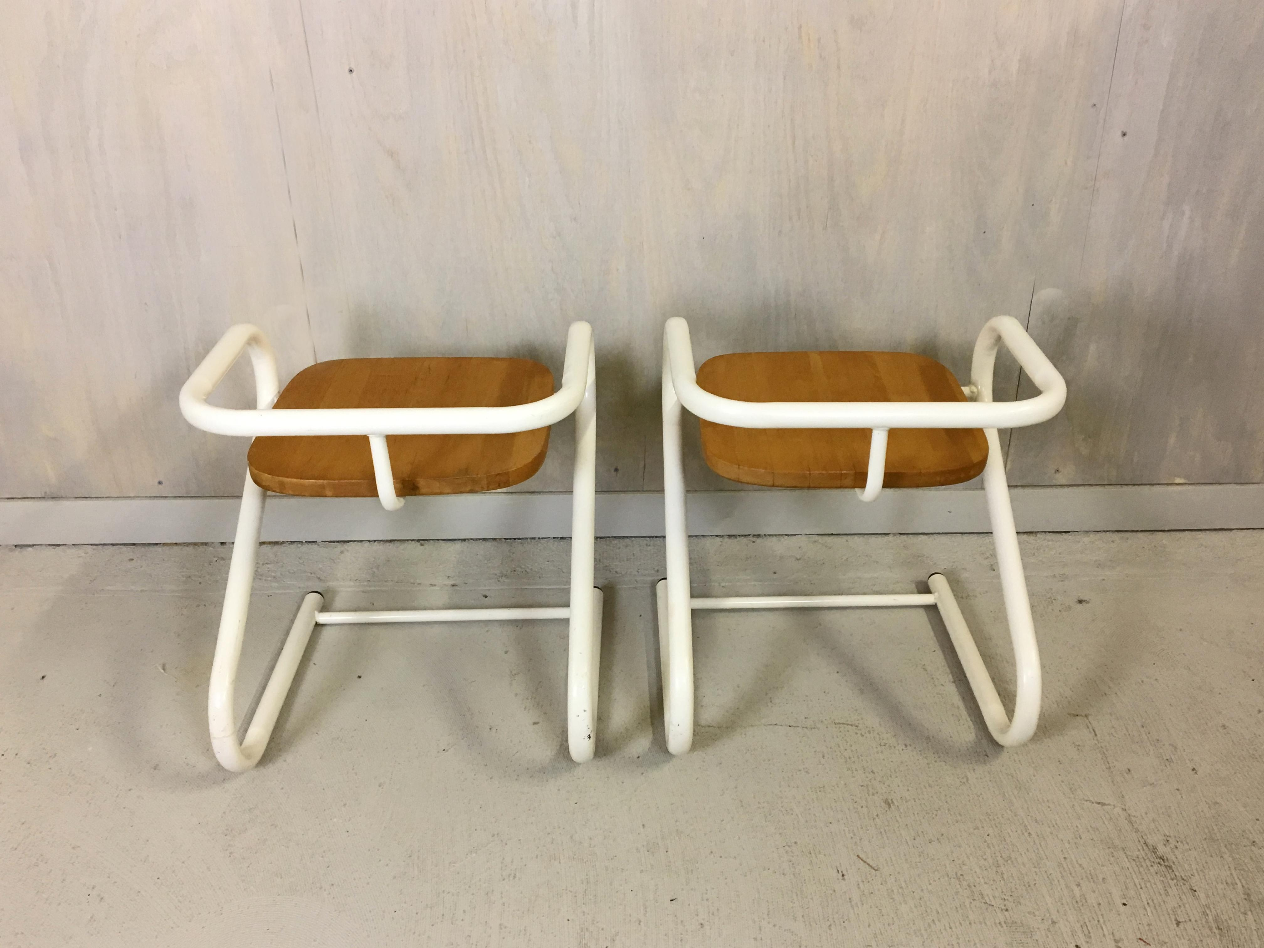Danish Modern Pair Of Mid Century Amisco Tubular Steel And Wood Chairs For  Sale   Image