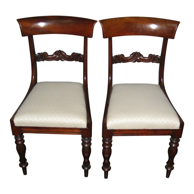 Regency Mahogany Side Chairs - A Pair - Image 1 of 4