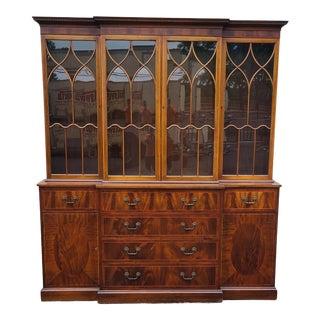 English Traditional Mahogany Tibbenham of Ipswich Georgian Style Breakfront China Cabinet C1980s For Sale
