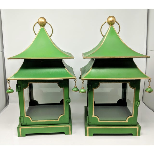 Metal Asian Antiqued Two-Tier Green Tole Pagoda Lanterns - a Pair For Sale - Image 7 of 12