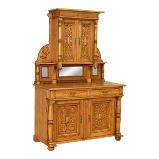 Antique Highly Carved Pine Cupboard Cabinet Buffet From Denmark For Sale