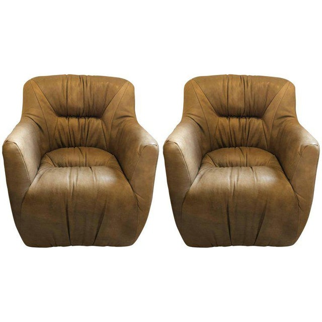 Pair of Hollywood Regency Style Leather Tufted Arm / Club Chairs in Putty Color For Sale - Image 10 of 10