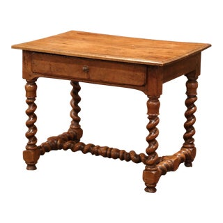 19th Century French Louis XIII Carved Walnut Barley Twist Table Desk For Sale