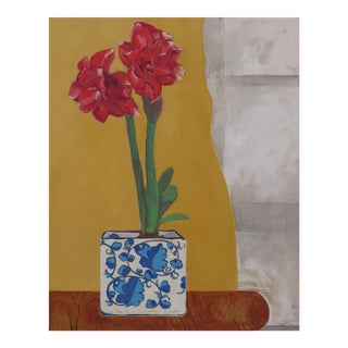 Amaryllis in My Favorite Planter Contemporary Painting For Sale