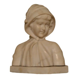 19th Century Small Marble Bust of Young Girl For Sale