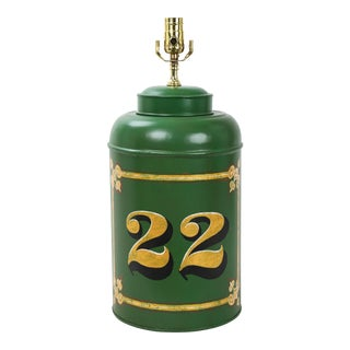 "English Export Vintage Tole Tea Caddy Lamp ""No.22"" For Sale"