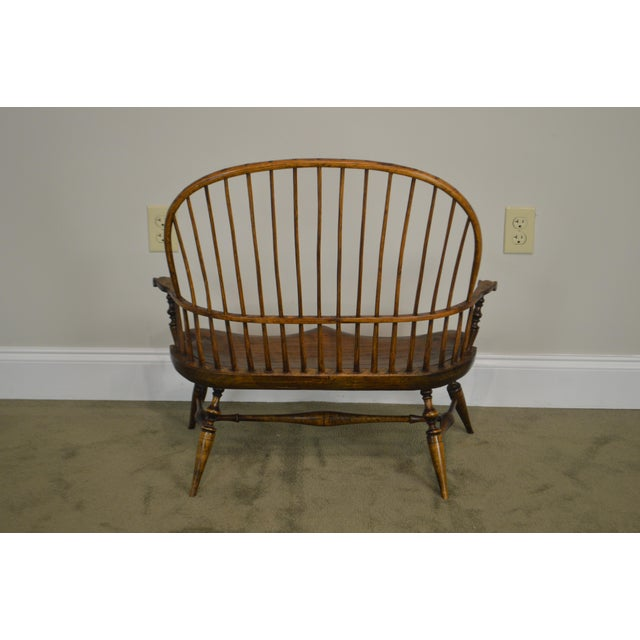 Traditional Windsor Style Hand Crafted Miniature Childs Settee by K. Malone (18th Century Reproduction) For Sale - Image 3 of 12