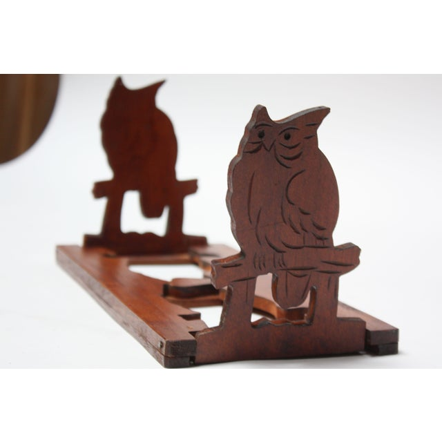 Mid-20th Century Carved Owl Pop-Up Bookrack / Bookends For Sale - Image 12 of 12